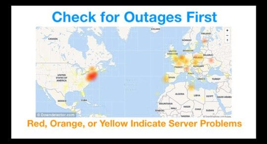 Live Server and Service Outages on World Map