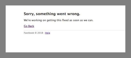 Facebook error message something went wrong