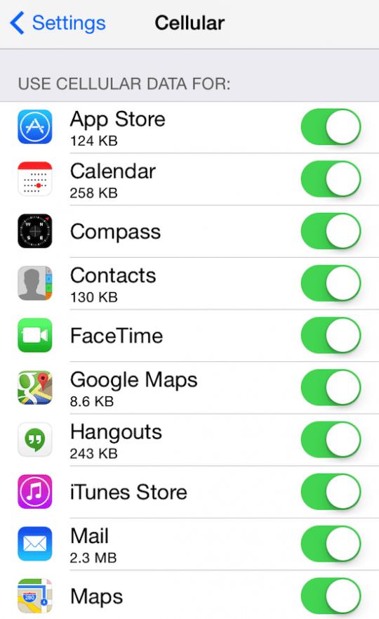 cellular data for apps