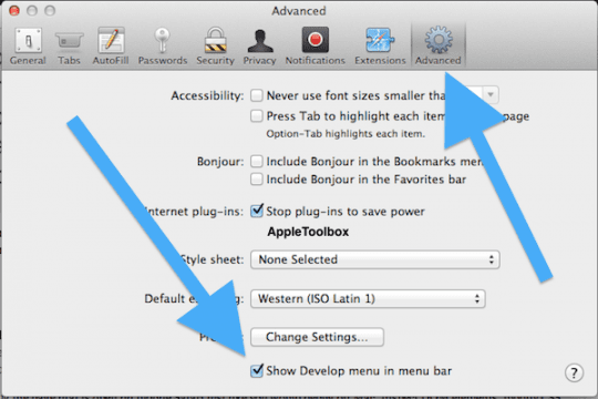 developers menu on Mac OSX