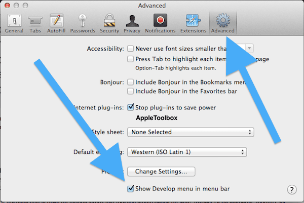 developers menu on Mac OSX