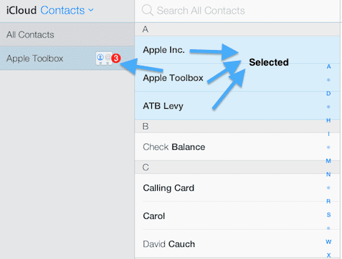select contacts and drag