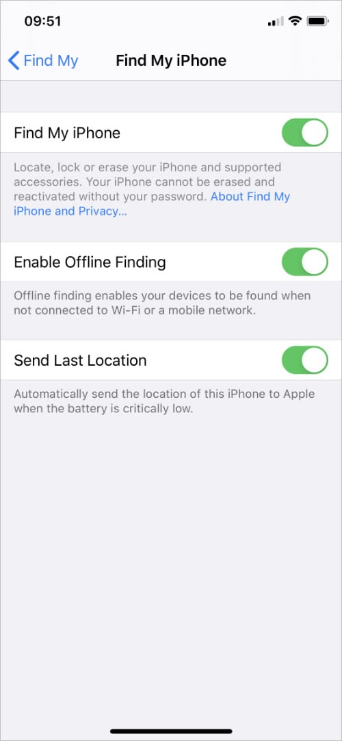iPhone Find My iPhone settings