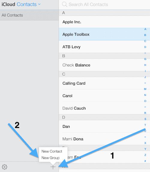 iCloud create group