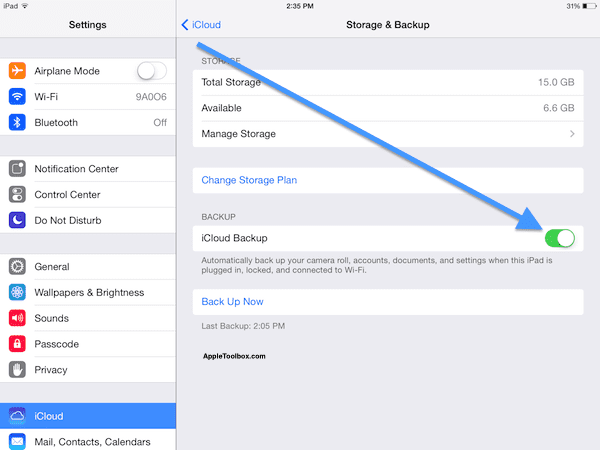 Turn on iCloud backup iOS