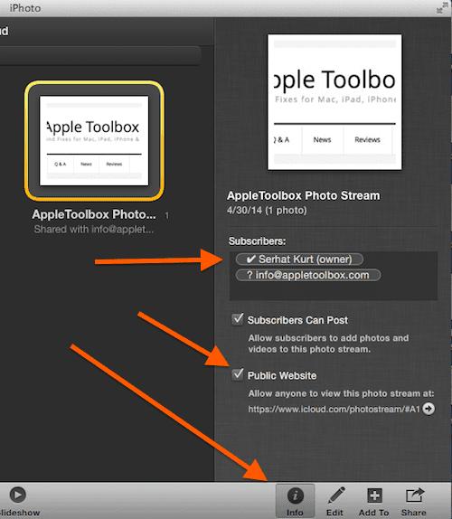 iPhoto shared stream Mac settings