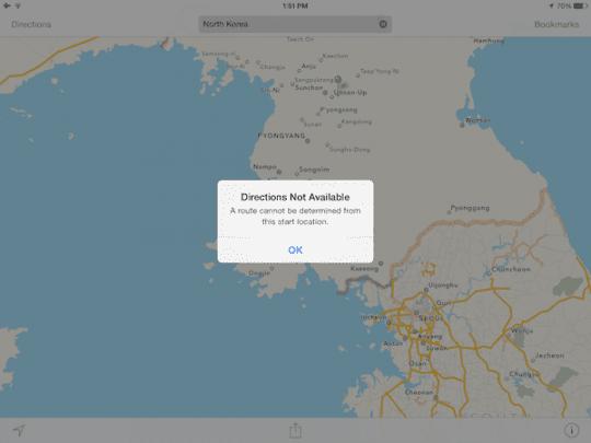 iOS Map North Korea