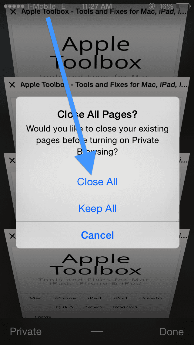 Safari Close all Pages