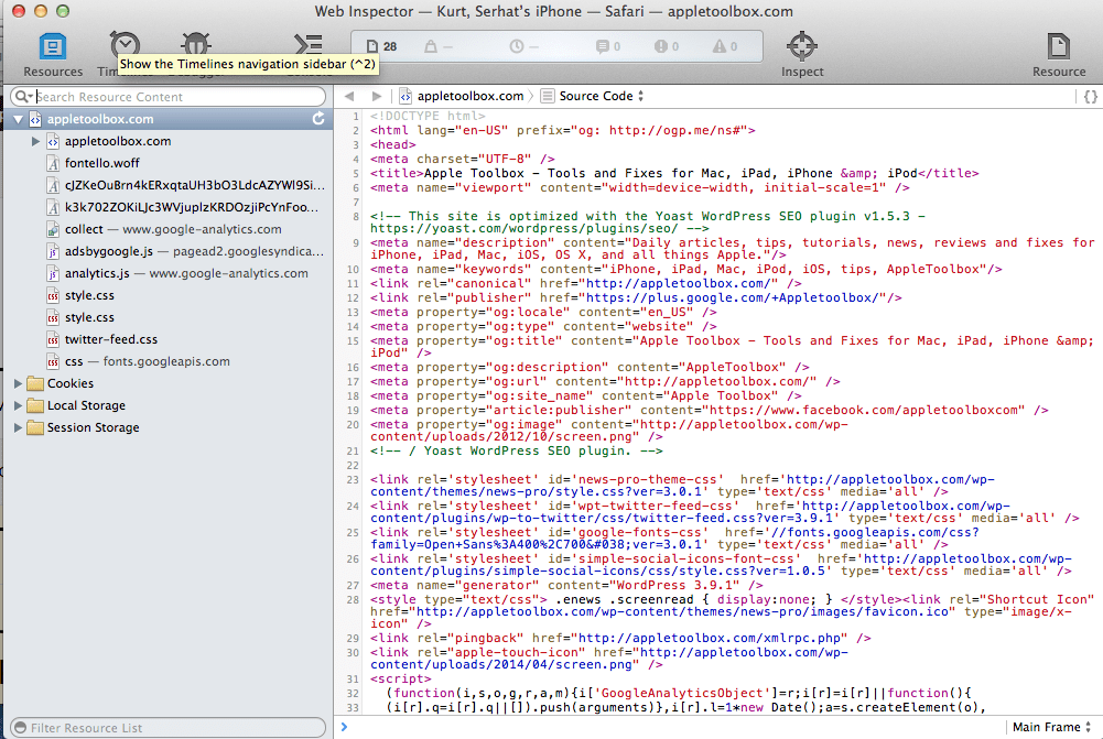 IPhone iPad web inspector