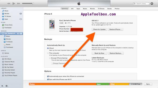 iOS 8.0.1 revert back