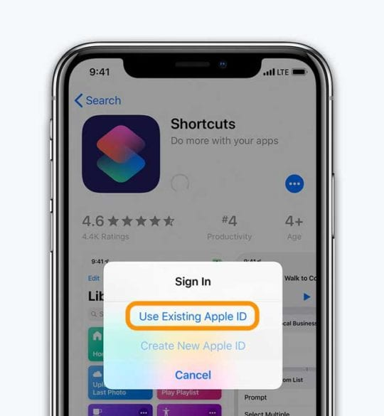 App Store sign in use existing apple id