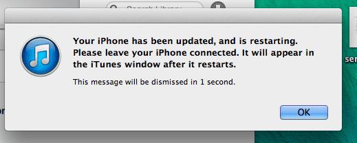 iTunes update restart