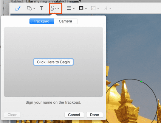 Mail provides trackpad and camera options to create a custom signature