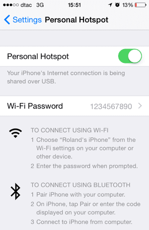 Turn on iPhone Personal Hotspot