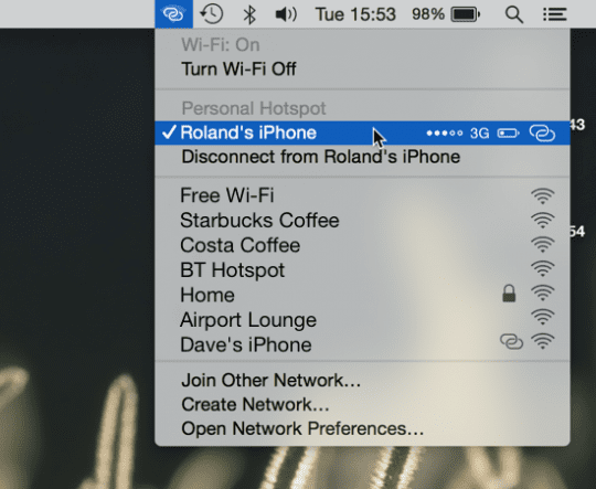 Connected to Hotspot