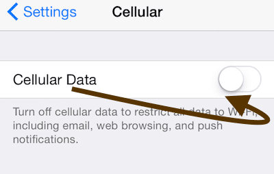turn off cellular data on iPhone and iPad