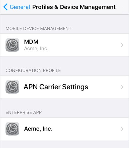 Profiles and Device Management on iPhone