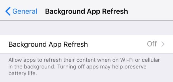 background app refresh off on iPhone iOS