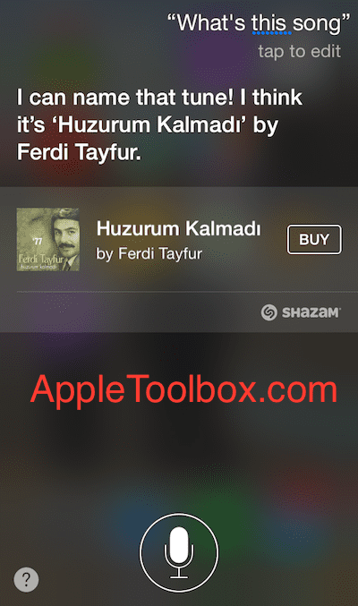 Siri identifying a Turkish song