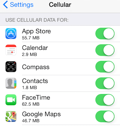 use cellular data for apps