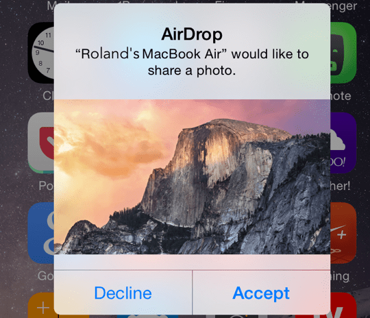 AirDrop Prompt to Receive iOS