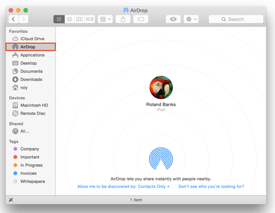 AirDrop - Ready on Mac