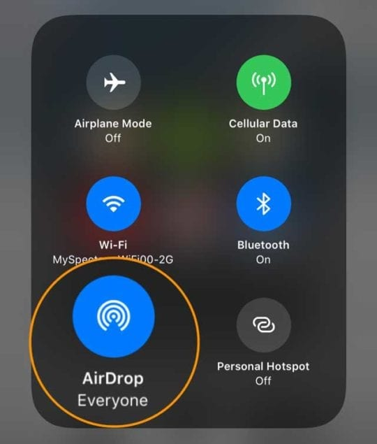 AirDrop icon in Control Center