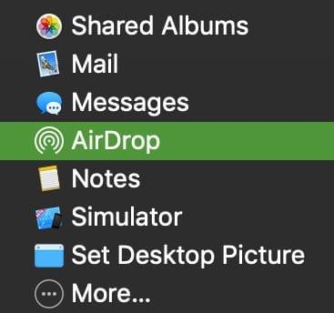 Mac Share button AirDrop option