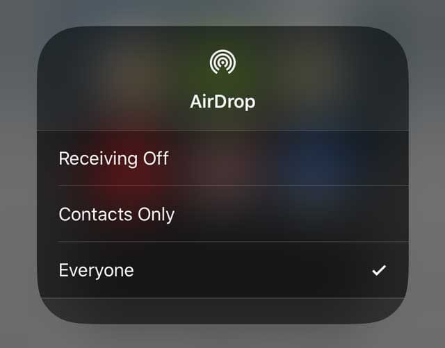 AirDrop options for receiving or off in control center