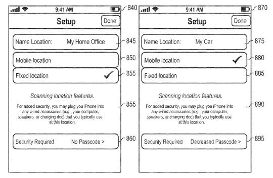 Apple Patent - Locaton Sensitive Security