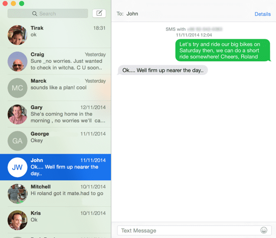 OS X Yosemite - send an SMS