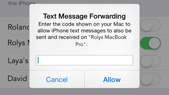 OS X Yosemite - SMS Verification