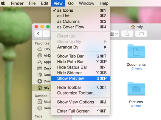 2 - Finder View Menu