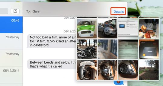 iMessage Details Button