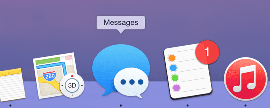 Messages in Dock