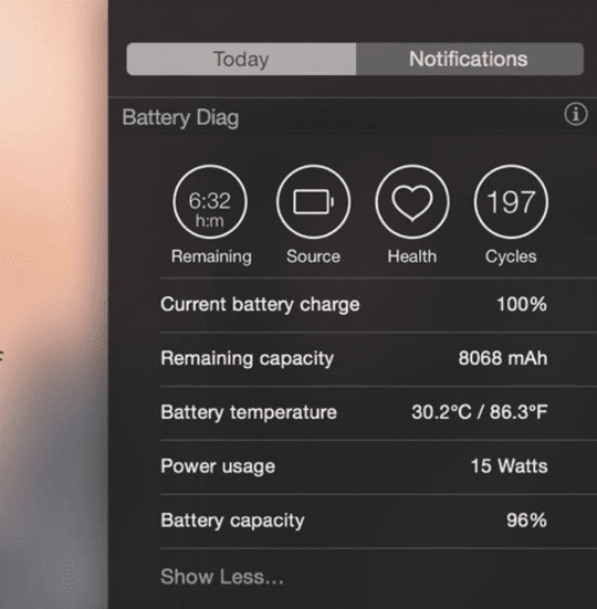 Battery Diag - Notification Centre