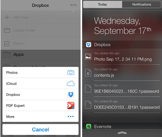 iOS Notification Centre Widget - Dropbox