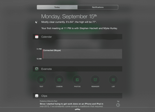 iOS Notification Centre Widget - Evernote