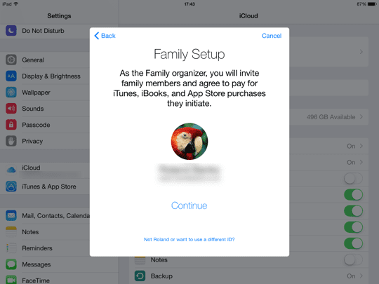 Family Sharing iOS - step 3
