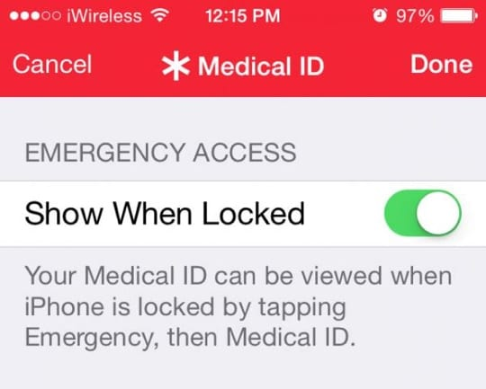 Apple Patent - Emergency Contacts and Medical