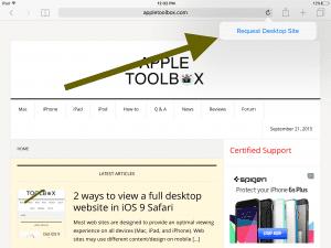iPad mobile version