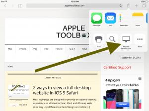 iPad request desktop site