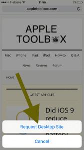 desktop version of mobile site