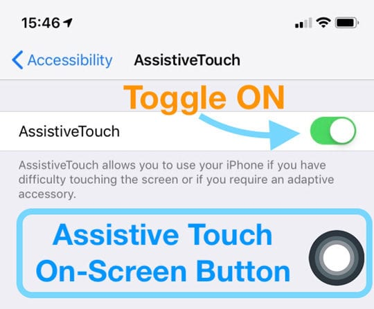 iOS assistive touch button on-screen iPhone