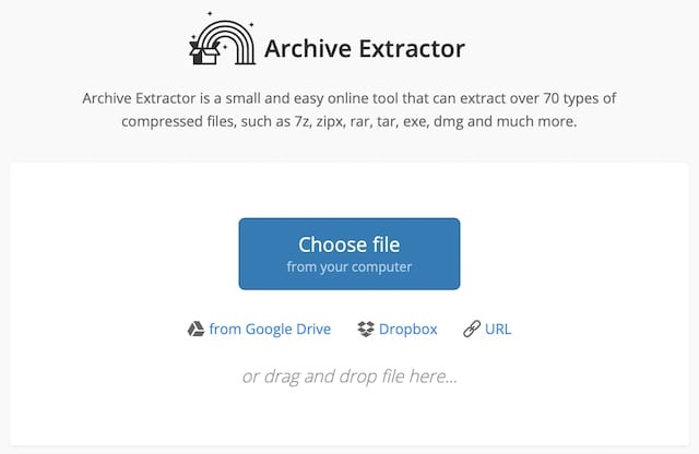 Extract.ME Archive extractor home page.