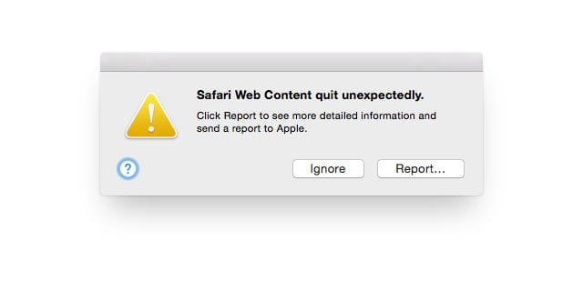 Mac Safari web content quit unexpectedly error, fix