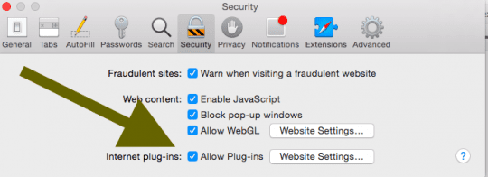 allow safari plugins