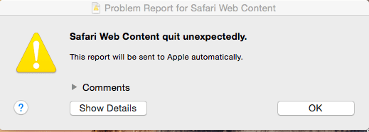 safari quit error