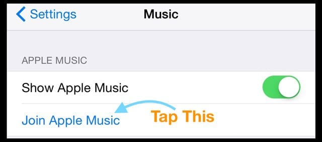 Join Apple Music Setting