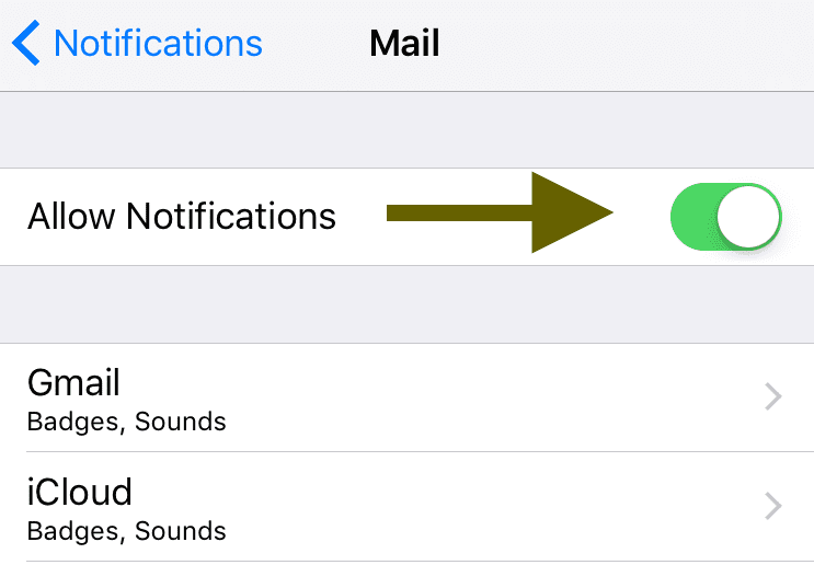 disable iOS notifications